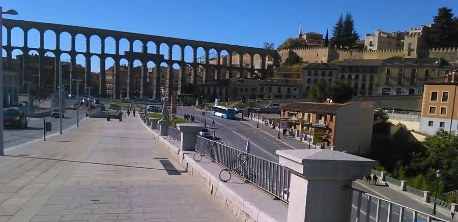 View Of The Aqueduct Of Segovia From Bridge