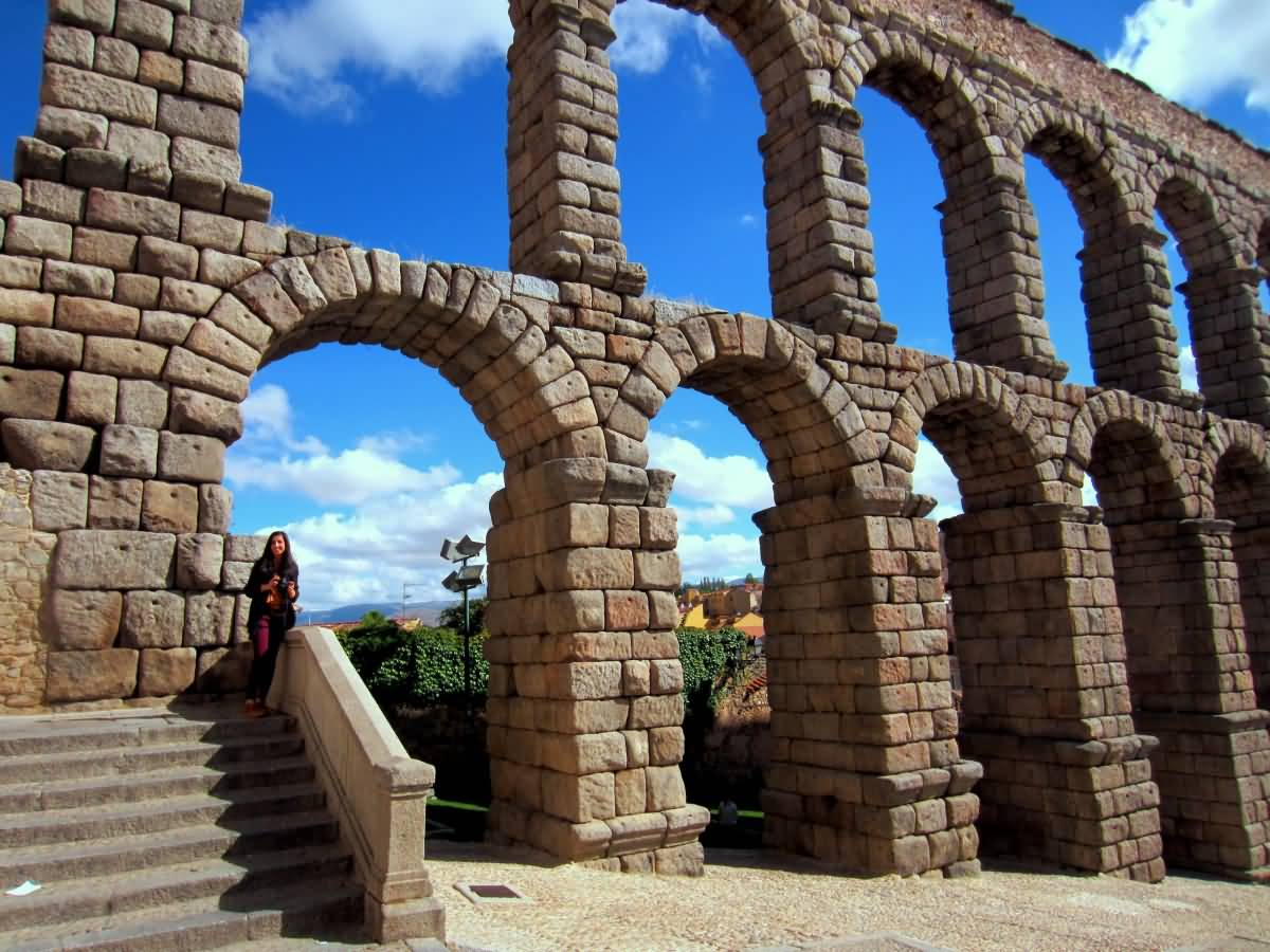 View Of The Aqueduct Of Segovia In Spain
