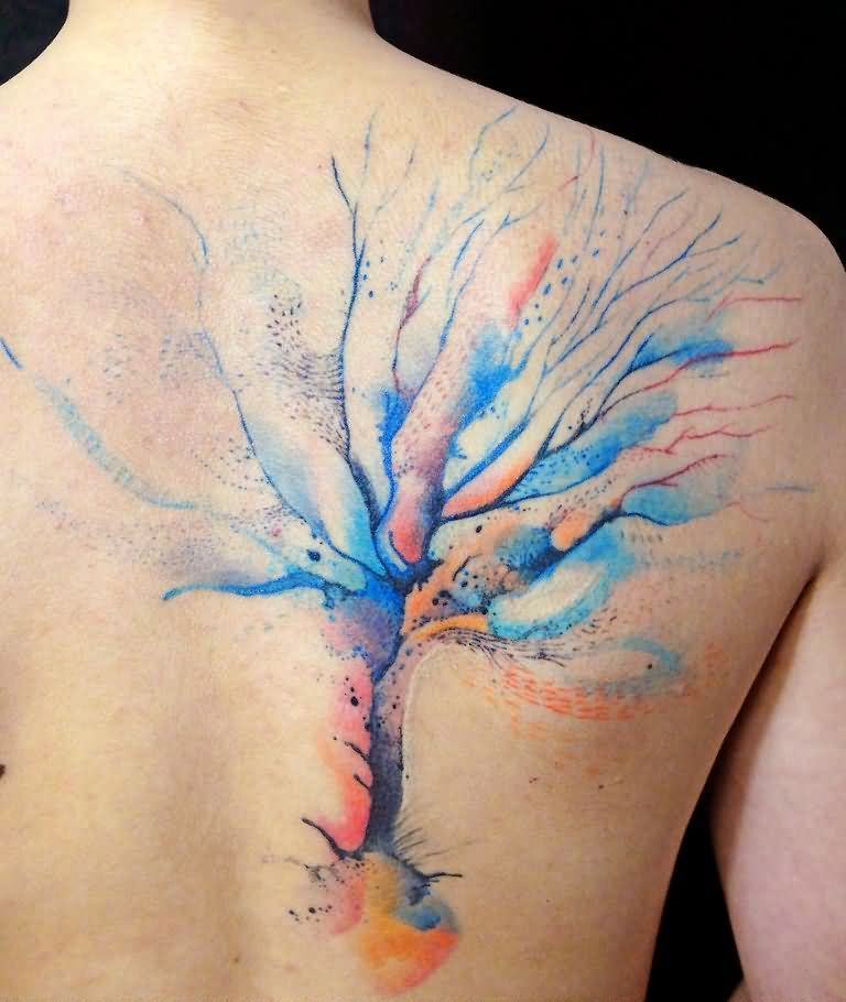 Watercolor Tree Tattoo On Man Right Back Shoulder