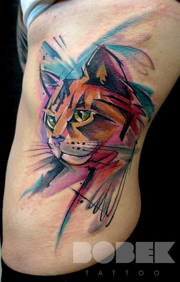 Watercolor Cat Head Tattoo On Left Side Rib