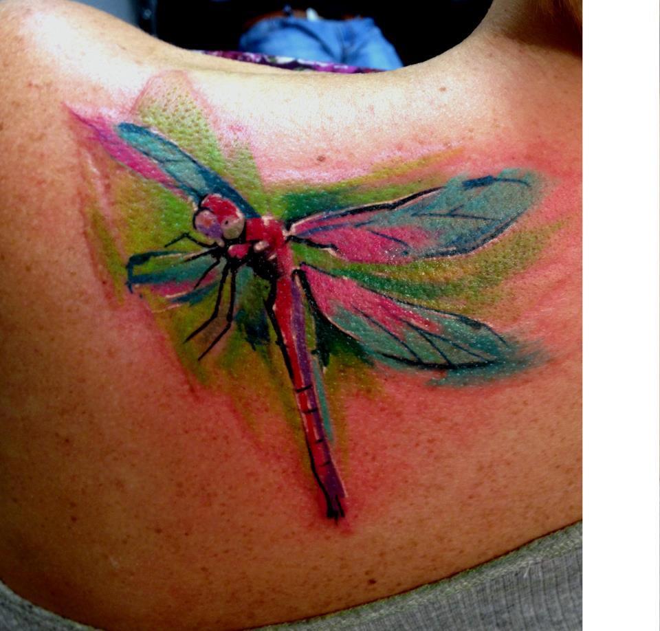 Watercolor Dragonfly Tattoo On Left Back Shoulder