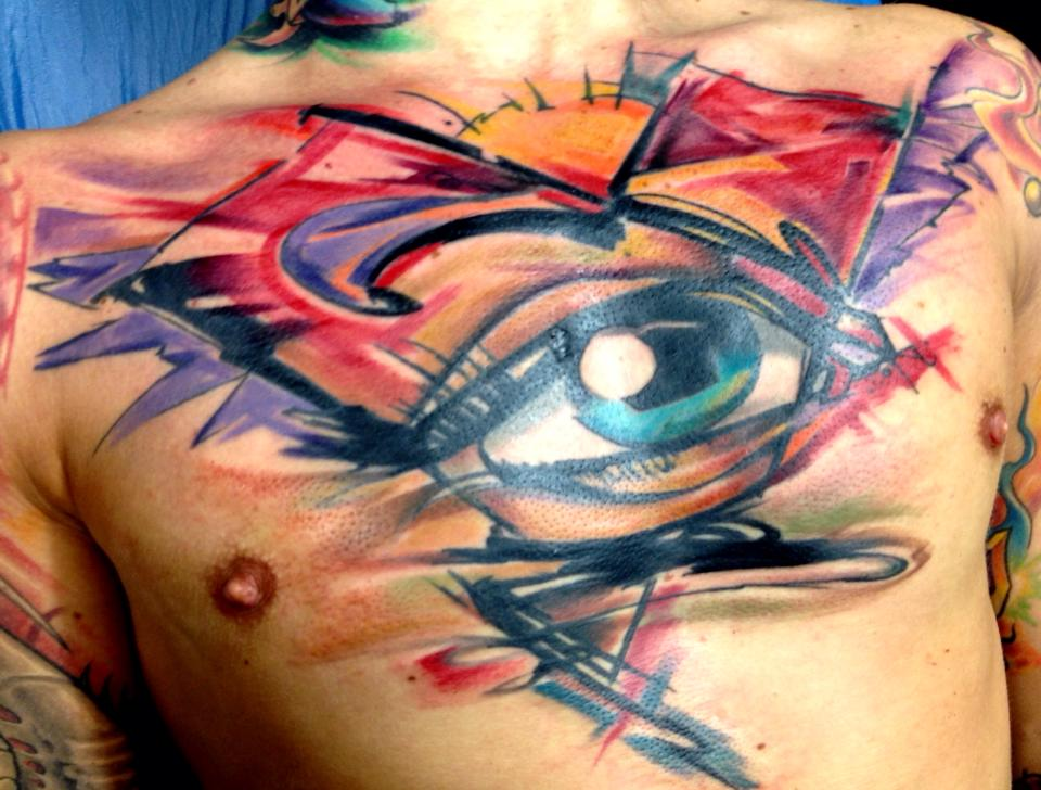 Watercolor Eye Tattoo On Man Chest