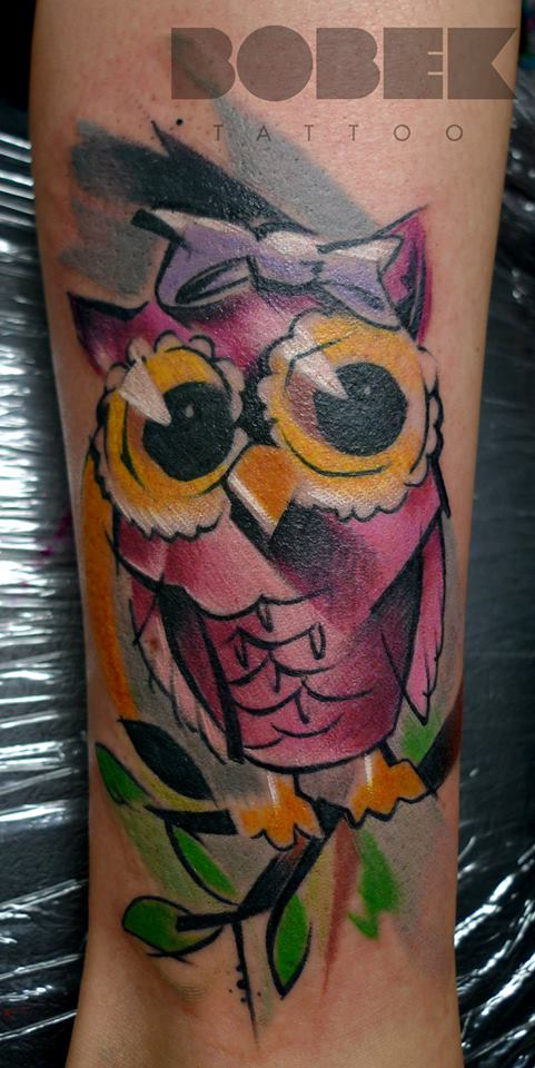 Watercolor Owl Tattoo Design For Leg