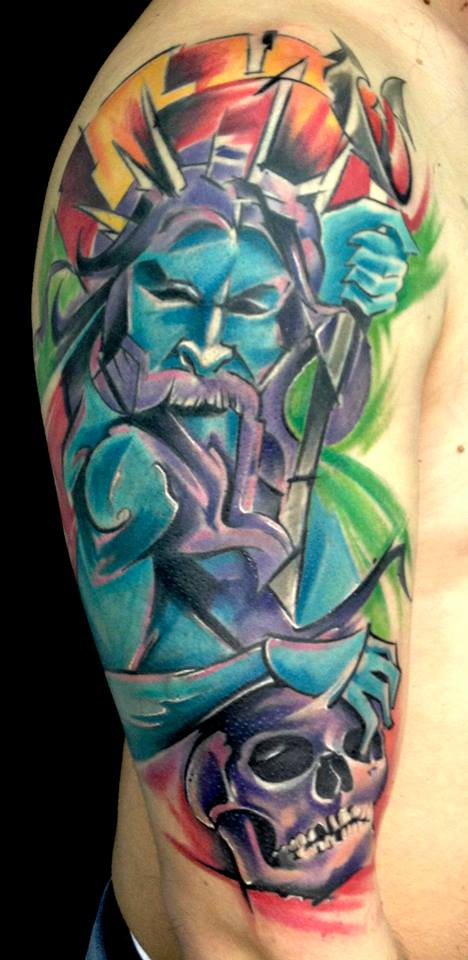Watercolor Sea God With Skull Tattoo On Man Right Half Sleeve