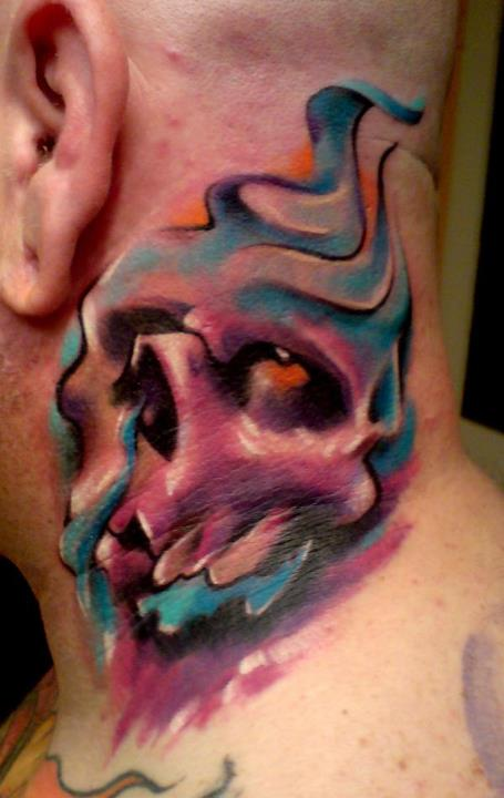 Watercolor Skull Tattoo On Man Side Neck