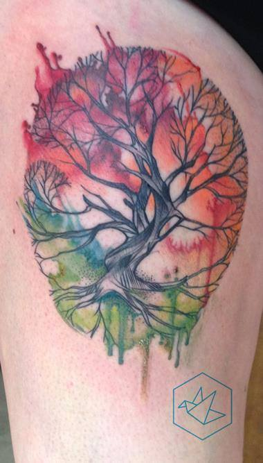 Watercolor Tree Tattoo Design For Shoulder