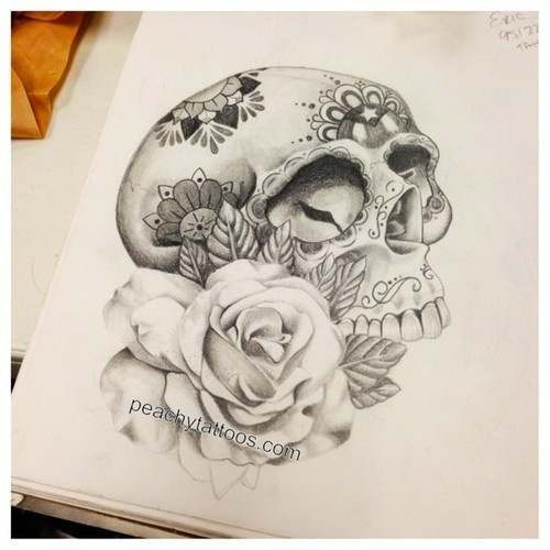 white rose and sugar skull tattoo design