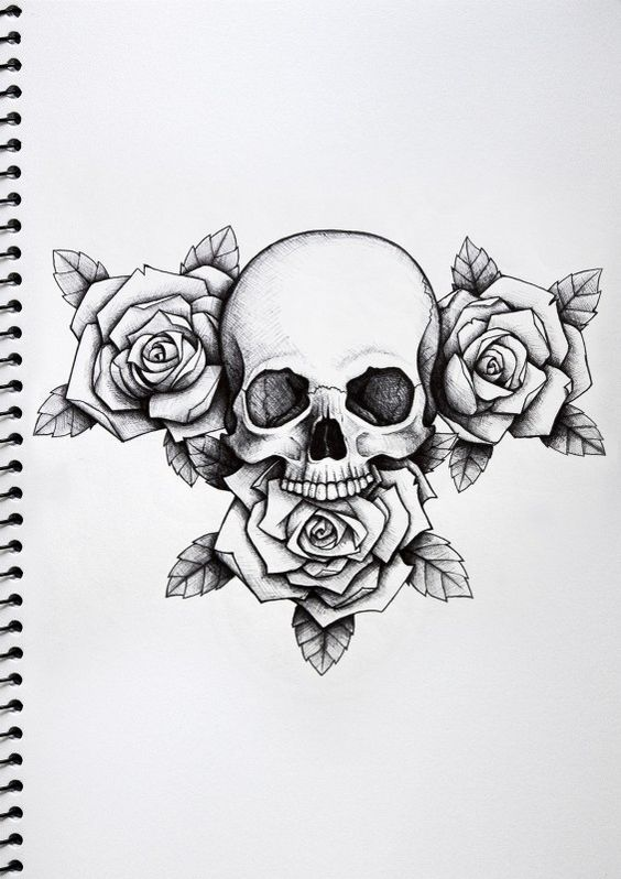 White Roses And Skull Tattoo Design