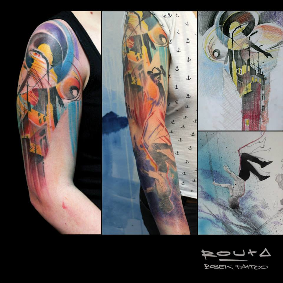Wonderful Abstract Tattoo On Man Right Half Sleeve