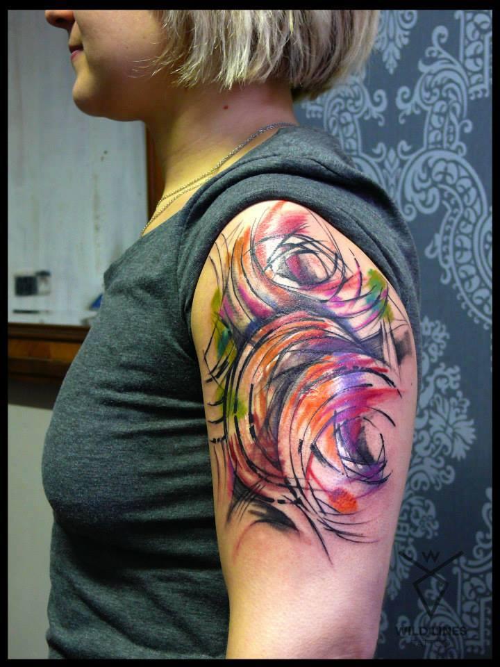 Wonderful Abstract Tattoo On Women Left Half Sleeve