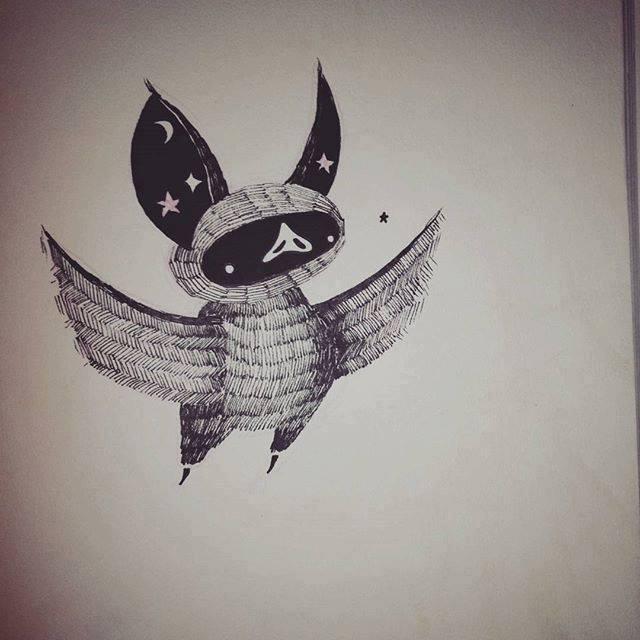 Wonderful Black Ink Bat Tattoo Design