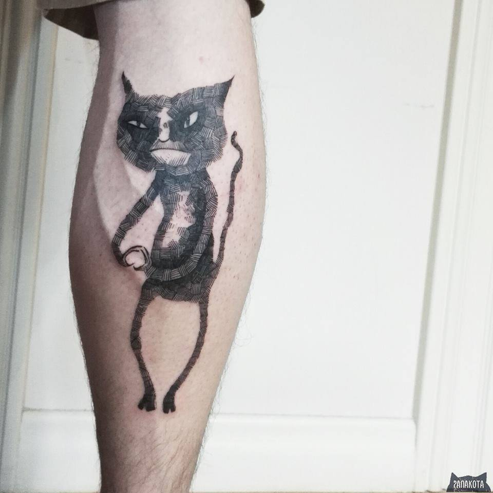 Wonderful Black Ink Cat Tattoo On Leg Calf
