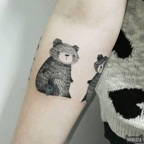 Wonderful Black Ink Panda Tattoo On Right Forearm