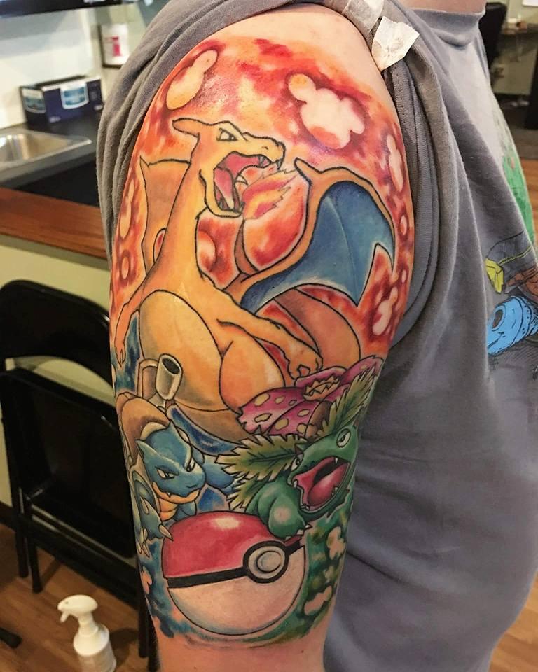 Wonderful Colorful Pokemons Tattoo On Right Half Sleeve