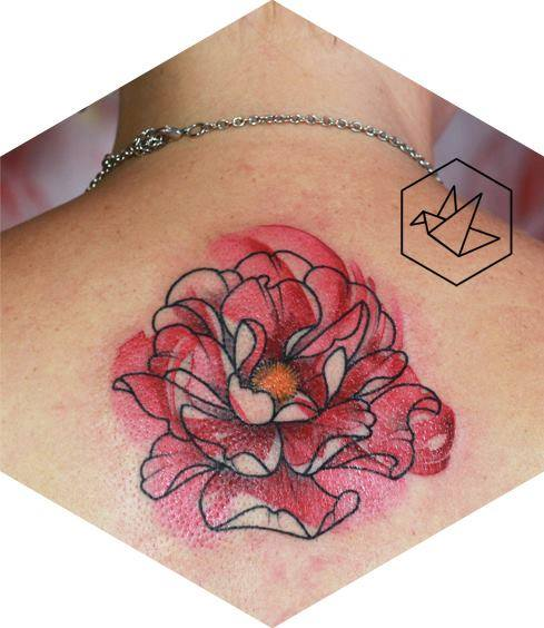Wonderful Flower Tattoo On Upper Back