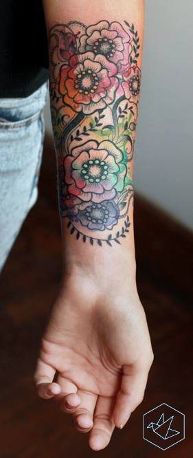 Wonderful Flowers Tattoo On Left Forearm