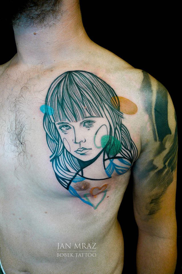 Wonderful Girl Face Tattoo On Man Left Chest