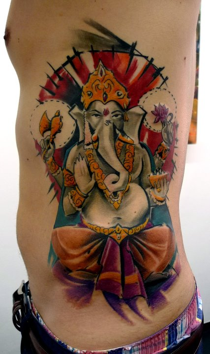 Wonderful Lord Ganesha Tattoo On Man Left Side Rib