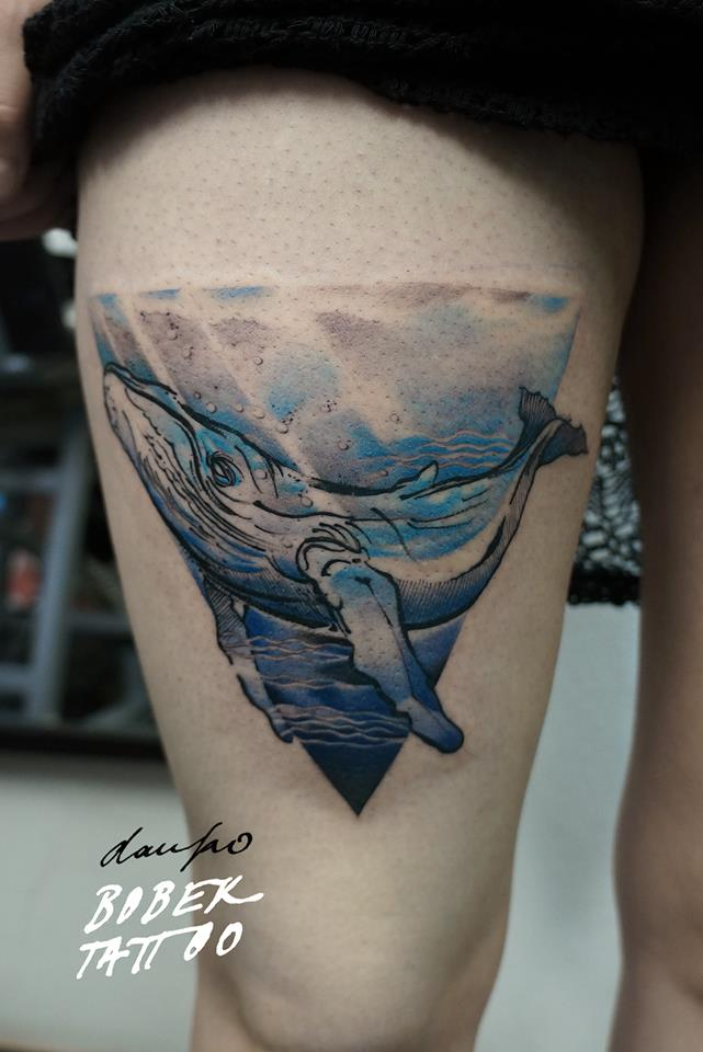 Wonderful Whale Tattoo On Right Thigh