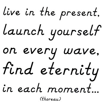 You must live in the present, launch yourself on every wave, find your eternity in each moment. Henry David Thoreau