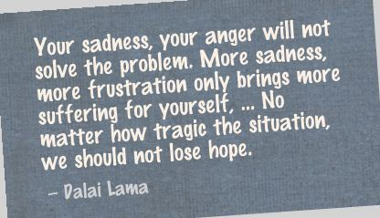Your Sandness Your Anger Will Not Solve The Problem More Sadness More Frustration Only Brings More suffering for.... Dalai Lama