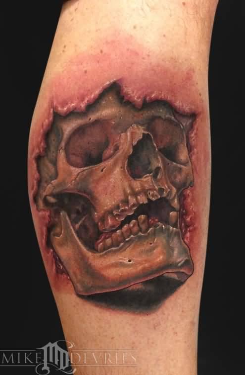 ripped skin 3d skull in on leg