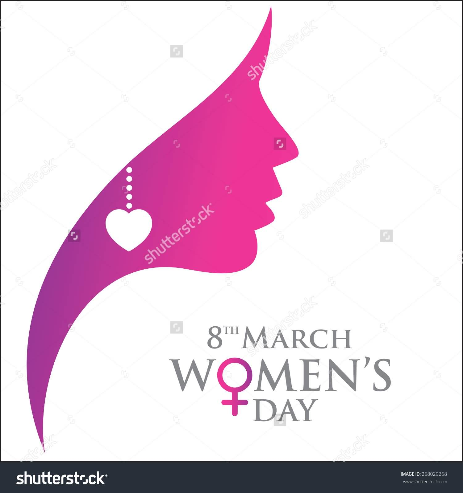 8th march women s day woman face greeting card
