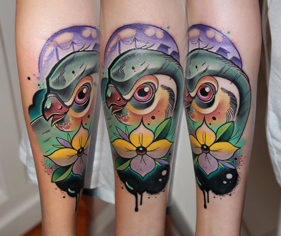 Abstract Bird With Flower Tattoo On Forearm