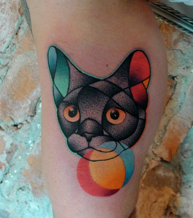 Abstract Cat Head Tattoo Design For Half Sleeve