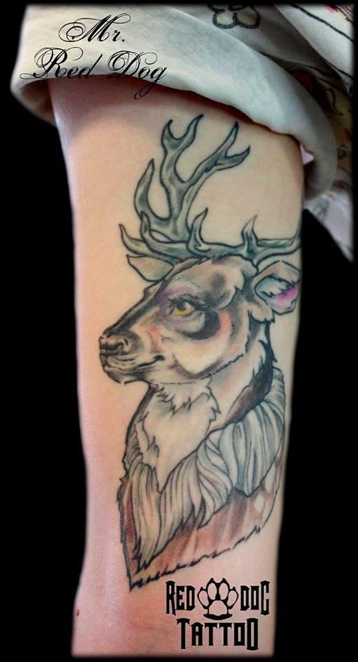 Abstract Deer Head Tattoo On Left Half Sleeve