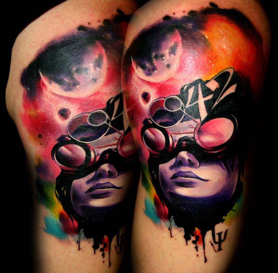 Abstract Face Tattoo Design For Thigh