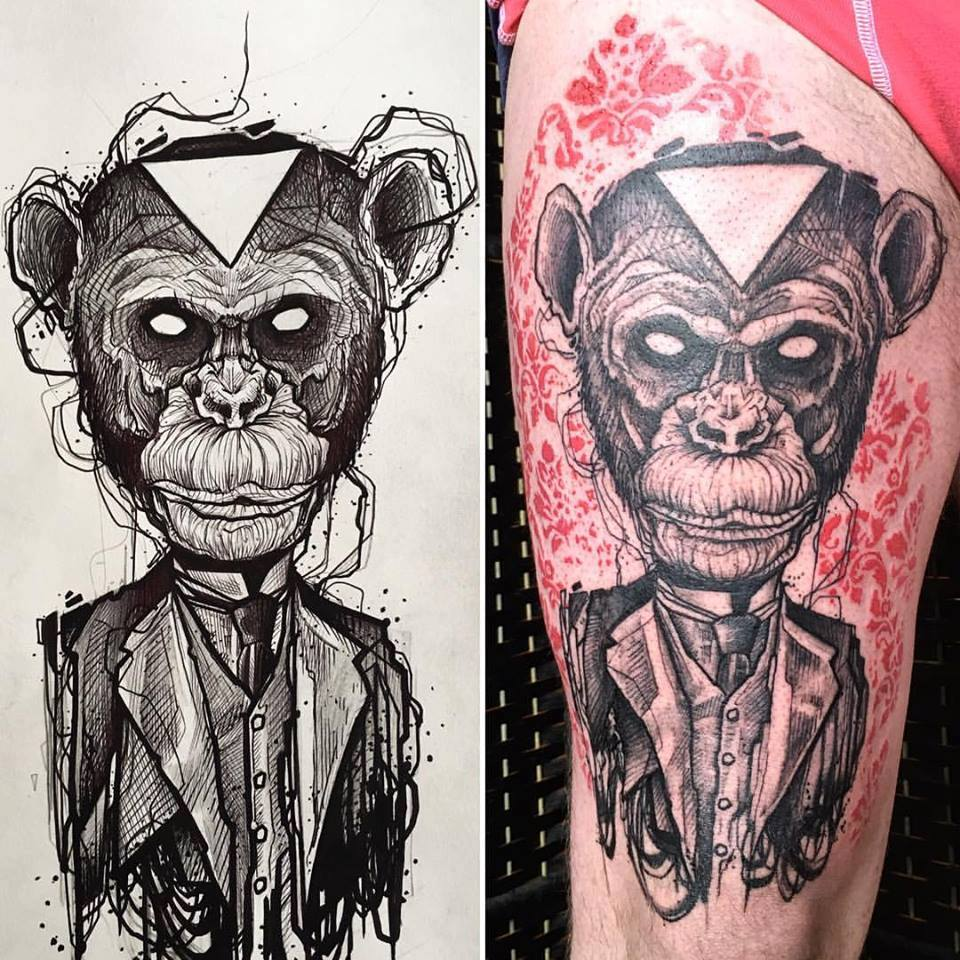 Abstract Gentleman Monkey Tattoo On Thigh