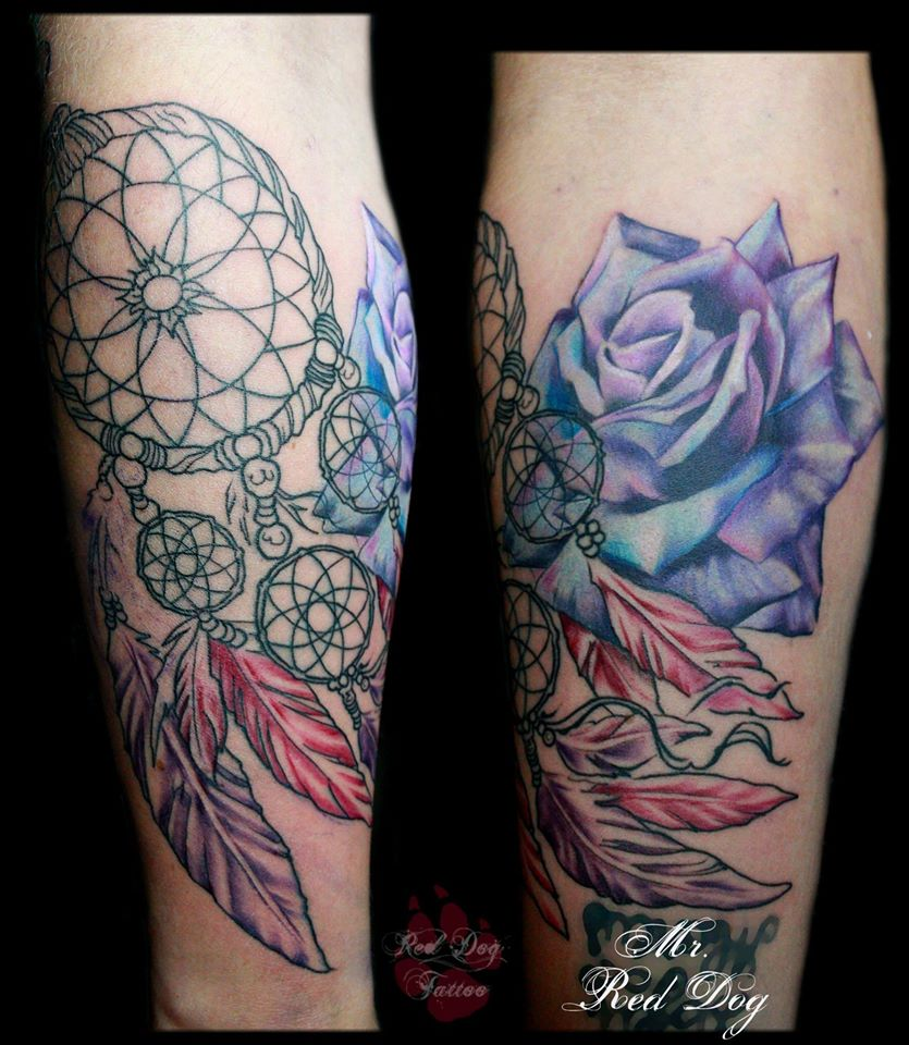 Name tattoo designs on bicep bicep name tattoo ideas - Abstract Rose With Dreamcatcher Tattoo On Leg