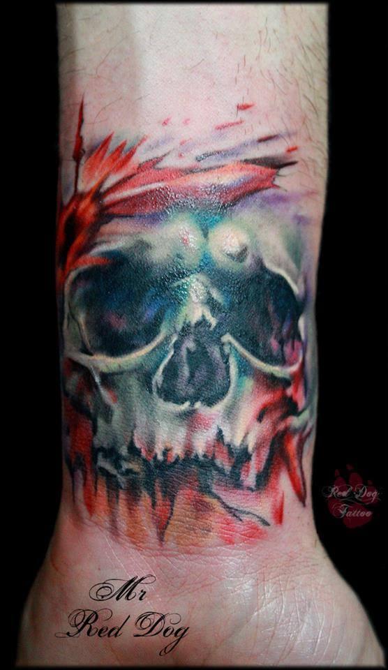 Abstract Skull Tattoo On Wrist