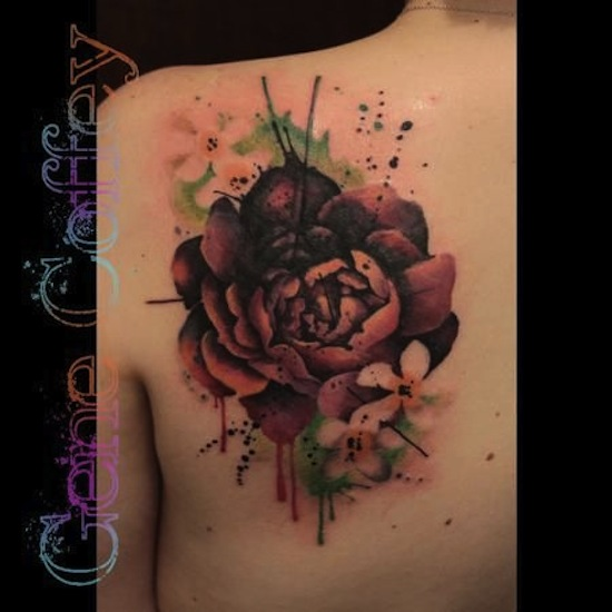 Abstract Watercolor Peony Flower Tattoo On Left Back Shoulder