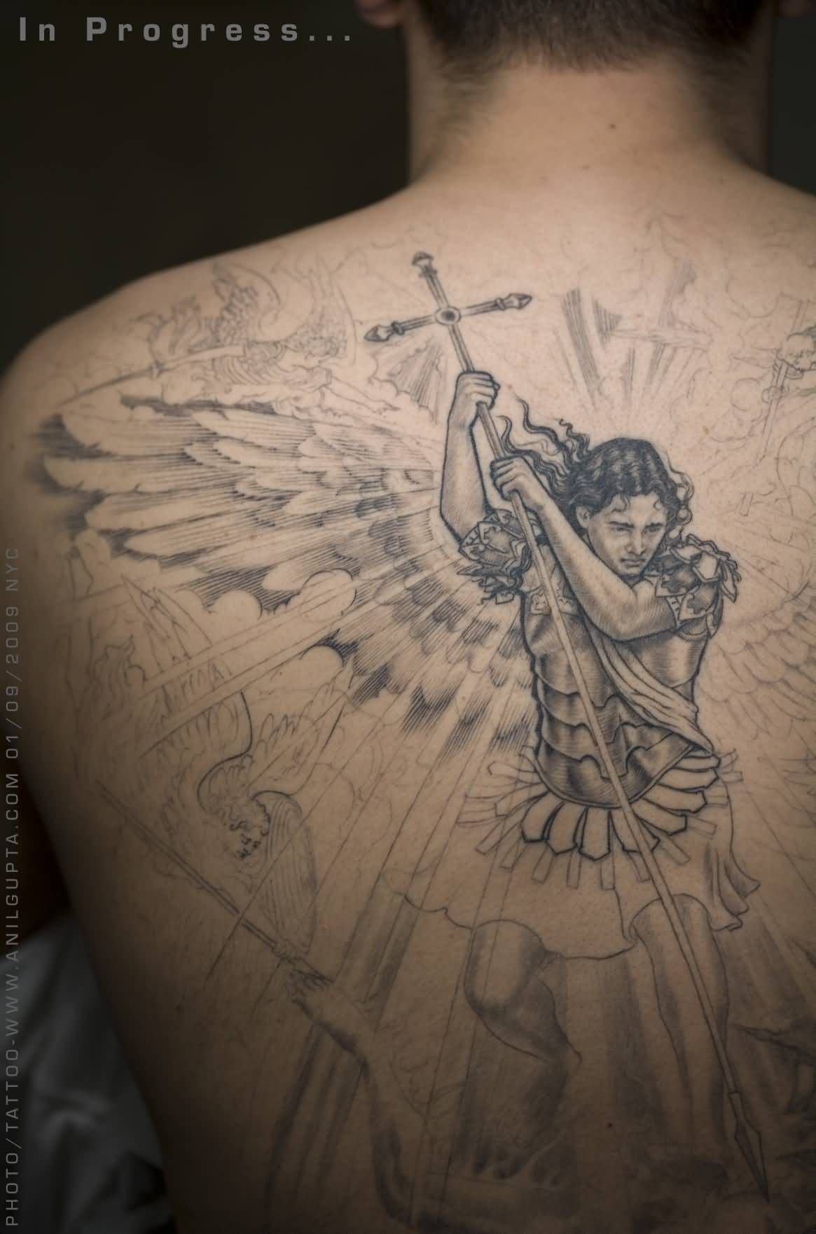 39+ Nice Archangel Michael Tattoos On Back