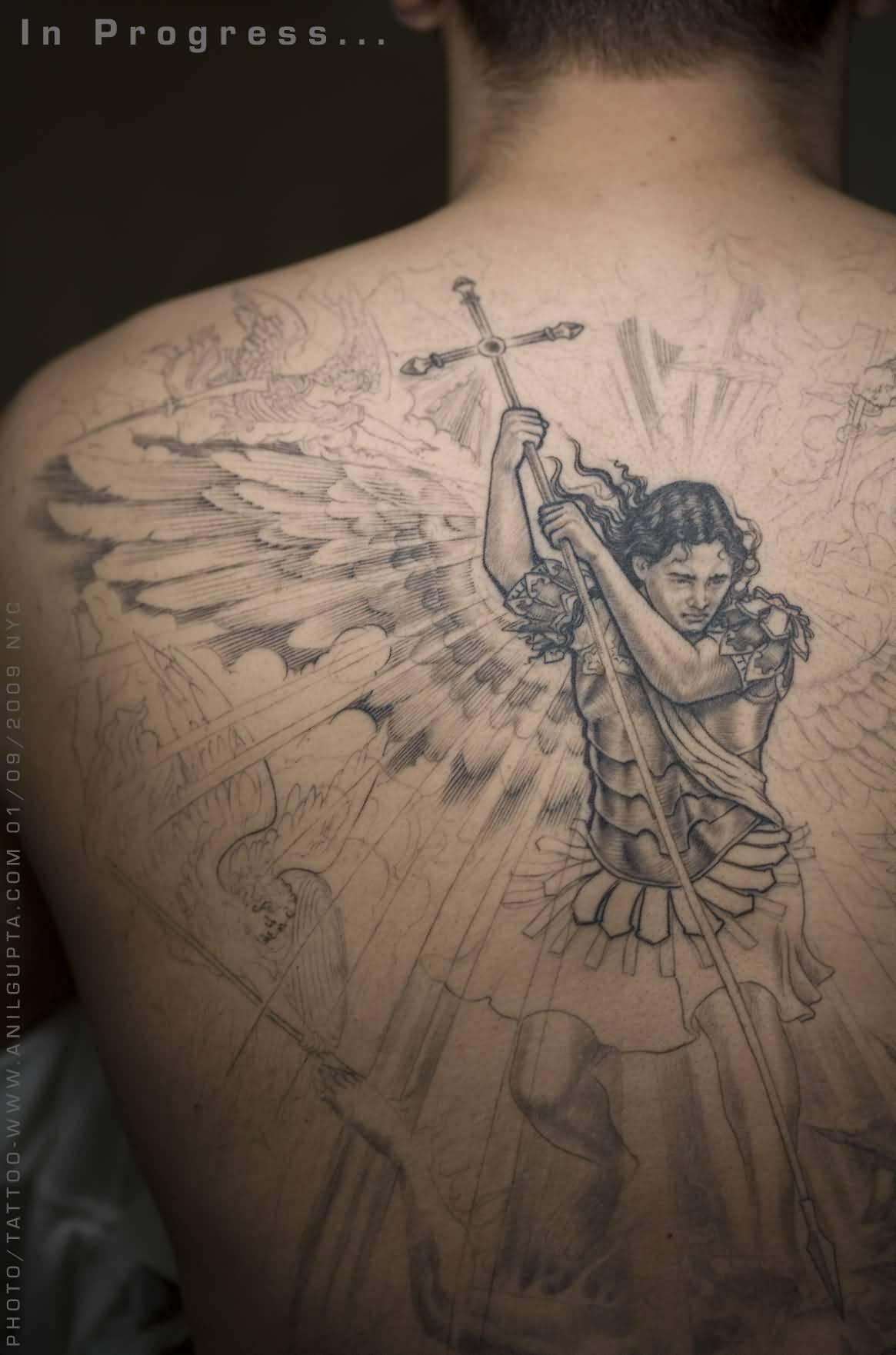 39+ Nice Archangel Michael Tattoos On Back