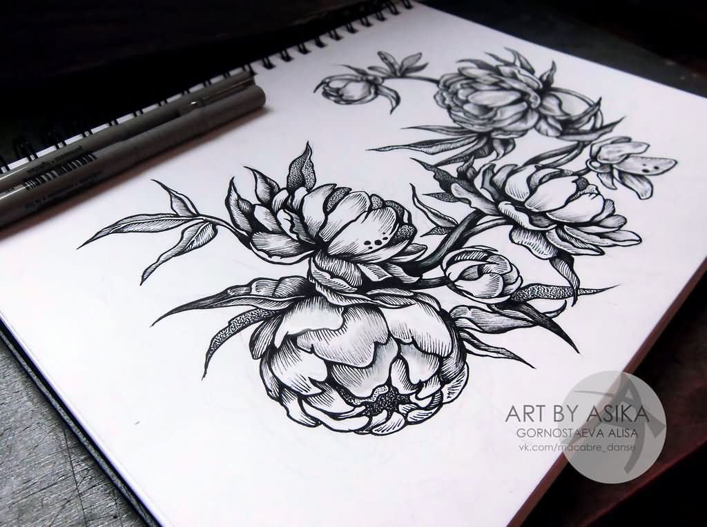 Amazing Black And White Peony Flowers Tattoo Design