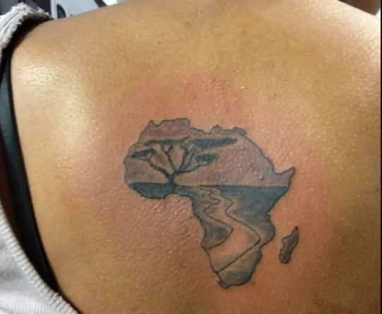a03844e01 Amazing Black Ink African Map Tattoo On Women Upper Back