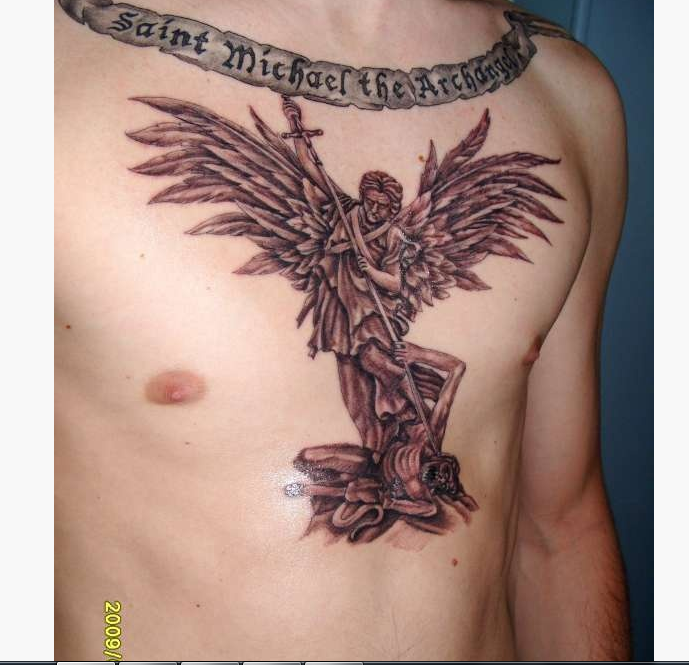 04318f745 Amazing Black Ink Archangel Michael With Banner Tattoo On Man Chest