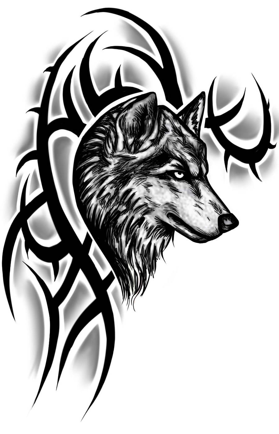 18 howling wolf tattoo designs images and photos for Tribal wolf tattoo