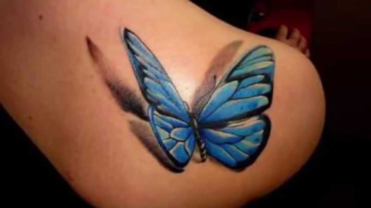 41c3d9a6e Amazing Blue Butterfly Tattoo On Girl Back Shoulder