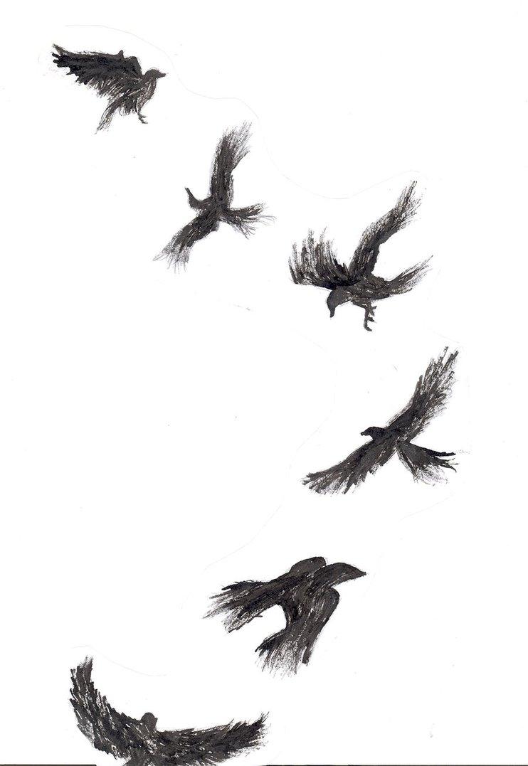Flying crow tattoos - photo#6