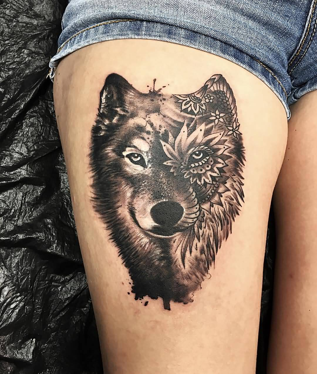 30+ Mandala Wolf Tattoos Designs Collection - photo#42