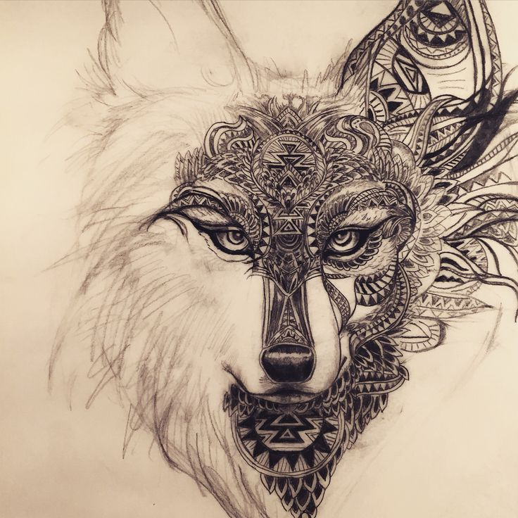 Mandala Wolf Tattoo Designs For Women I Like The: 52+ Mandala Wolf Tattoos Ideas