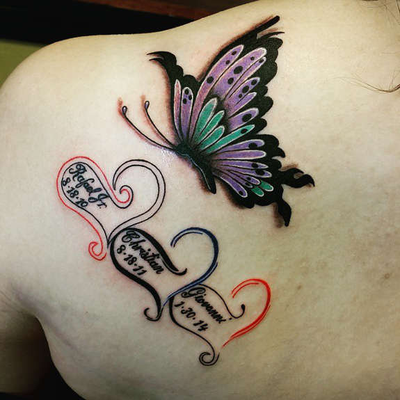 e9aaf0726 Amazing Memorial Hearts And Butterfly Tattoo On Back Shoulder