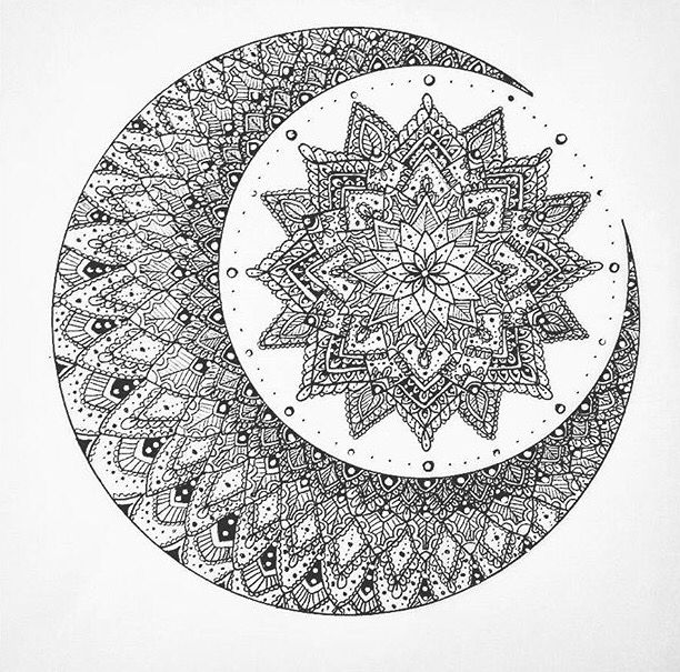 Amazing Moon And Mandala Flower Tattoo Design