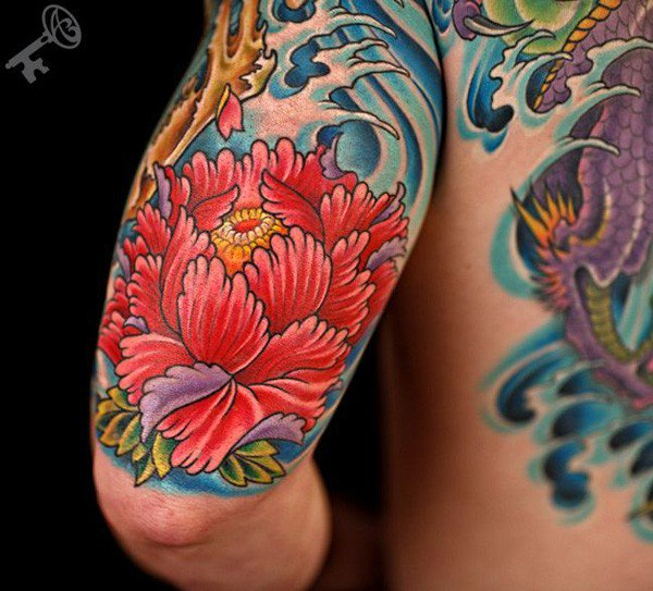 50 traditional peony tattoos designs and ideas. Black Bedroom Furniture Sets. Home Design Ideas