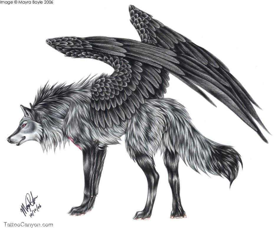 Angel Winged Wolf Tattoo Design