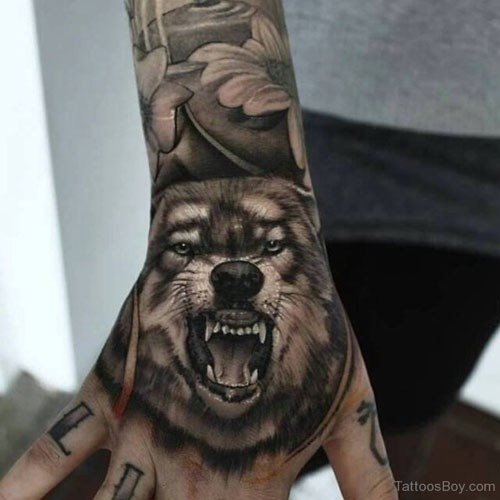 46 Unique Wolf Head Tattoos Ideas: Flying Birds And Wolf Head Tattoo On Arm